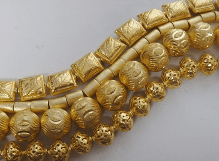 Hollow Beads - 24kt Gold Over Copper -
