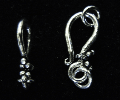 Hook and Eye Clasp with Detail 20mm Hook w/ 7mm Eye 10 Clasps .999 Silver Over Copper SCBK1006