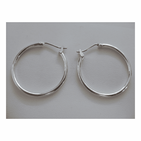 Hoop Ear Wire - 20mm - 5 pair - .999 Silver Over Copper -