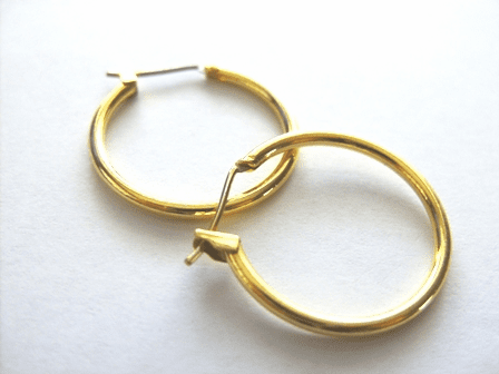 Hoop Ear Wire - 20mm: 5 Pairs - 25mm: 3 Pairs - 24kt Gold Over Copper Core