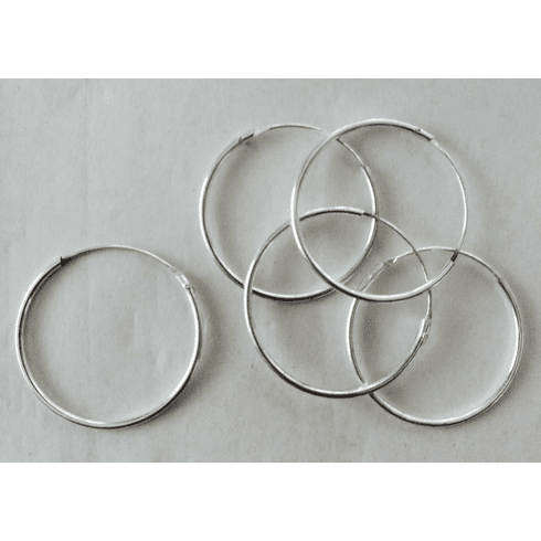 Hoop Ear Wire  30mm 15 Pairs .999 Silver Over Copper SCBKB34