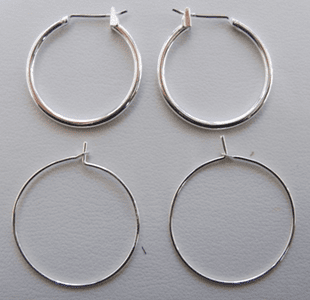 Hoop Ear Wires - 3 Sizes - .999 Silver Over Copper
