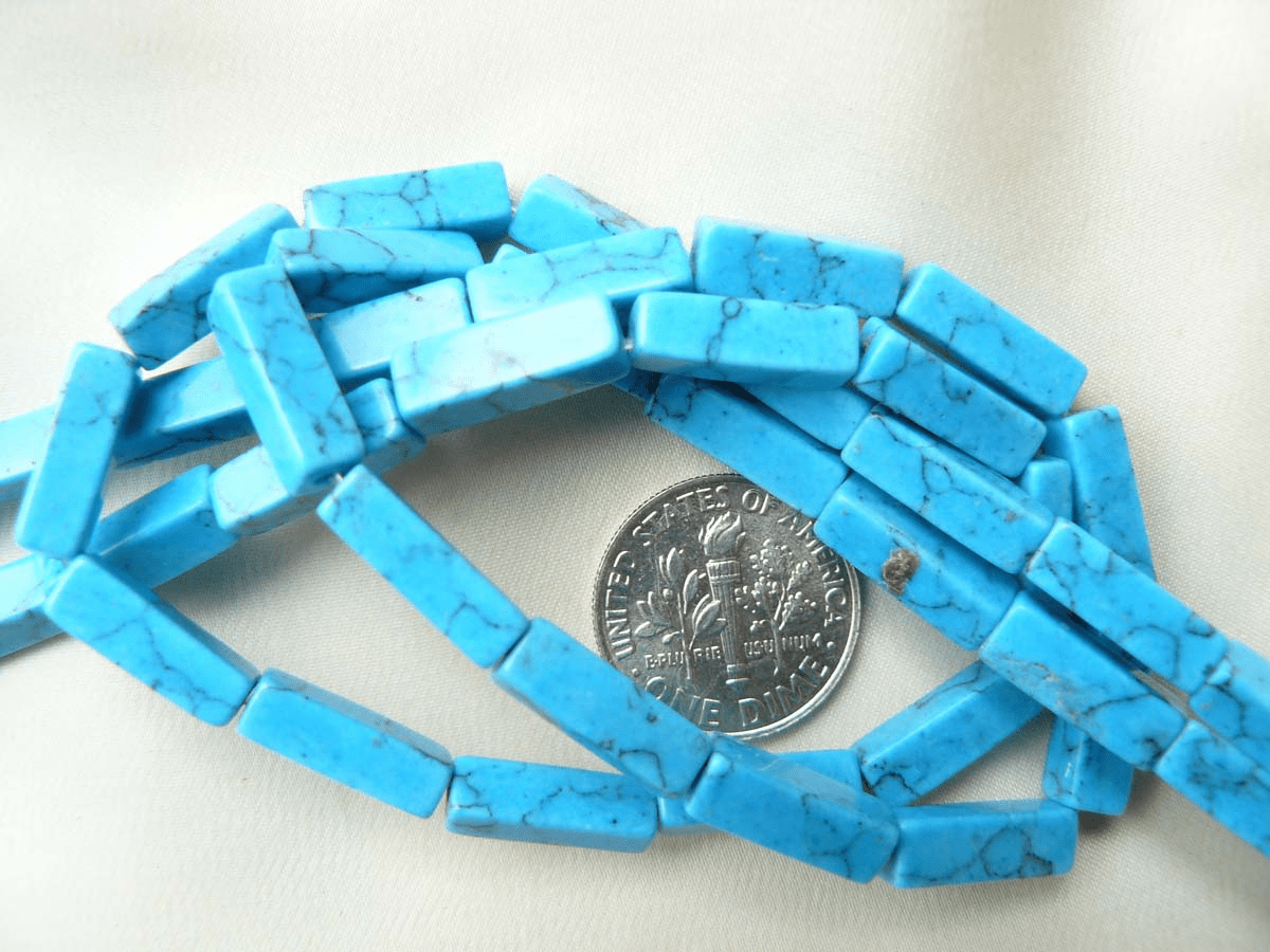 "Howlite Beads Turquoise color Rectangles 4x4x13mm 14"" Strands"