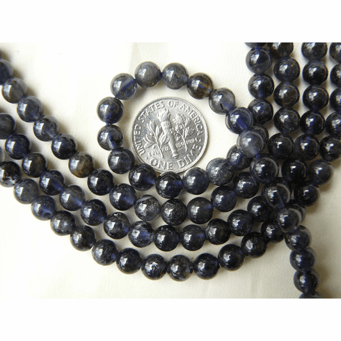 """Iolite Beads 6mm Round natural sapphire color 16"""" Strands"""
