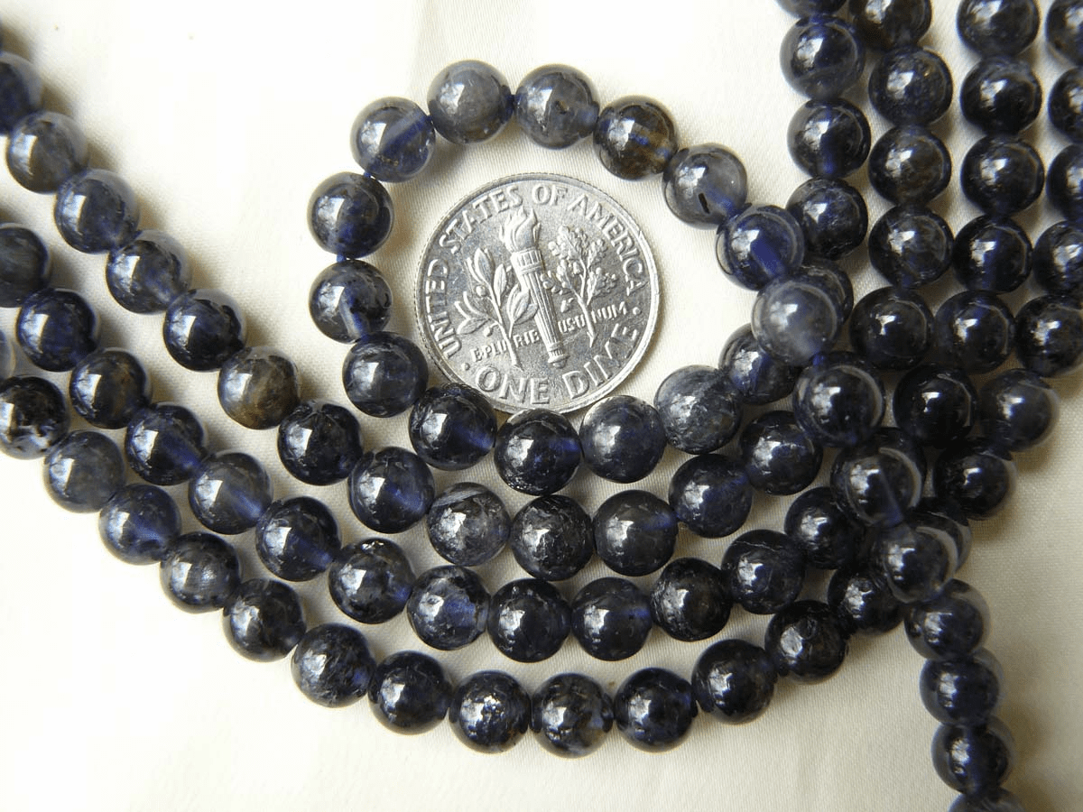"Iolite Beads 6mm Round natural sapphire color 16"" Strands"