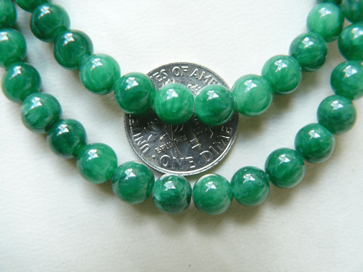 "Jade Beads 6mm Green Round 16"" Strands"