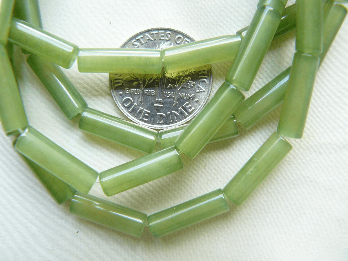 "Jade beads Green Jade color Tubes 4x13mm 16"" Strands"