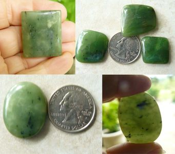 Jade Cabochons in many Shapes and sizes, Natural Jade