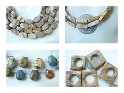 "Picture Jasper Beads Many shapes 16"" strands"