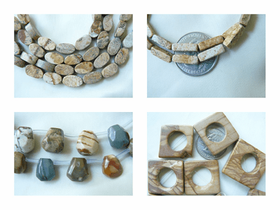 """Picture Jasper Beads Many shapes 16"""" strands"""