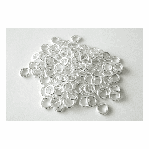 Jump Ring - 6mm - 74 Pieces - Closed - .999 Silver Over Copper<br>SCBK45-6