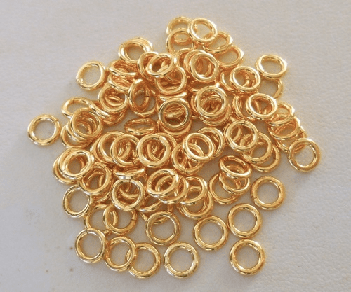 Jump Ring - 6mm - CLOSED - 97 Pieces - 24kt. Gold Over Copper<BR>GCBK45-6