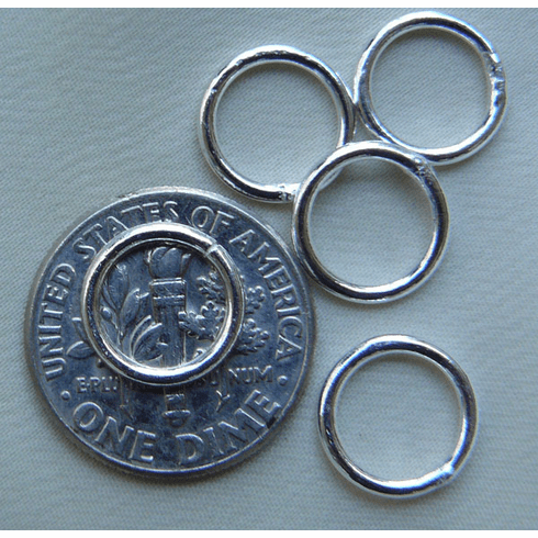 Jump Rings 10mm 20 Pieces Sterling Silver Closed