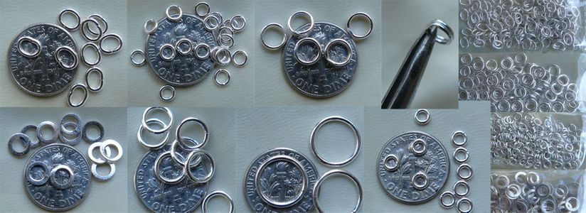 """Jump Rings and Split Rings Spring Rings Sterling Silver and new """"click lock"""""""
