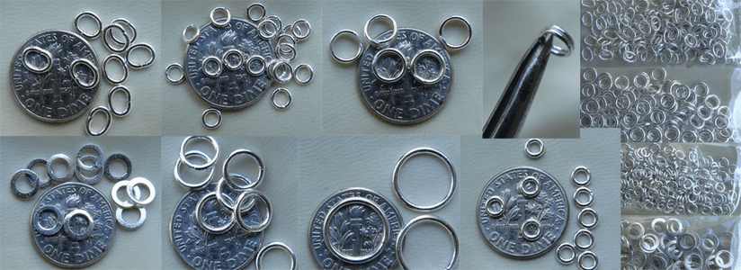 "Jump Rings and Split Rings Spring Rings Sterling Silver and new ""click lock"""