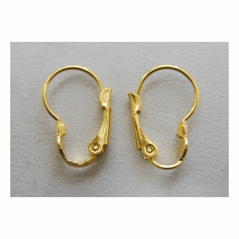 Kidney-Shaped Lever Back - 12x18mm - 8 Pairs - 24 Kt. Gold Over Copper