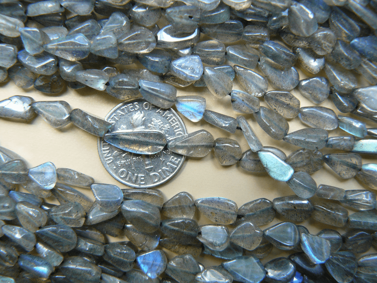 "Labradorite Beads Arrowhead Triangles 15"" strand 5x8mm"