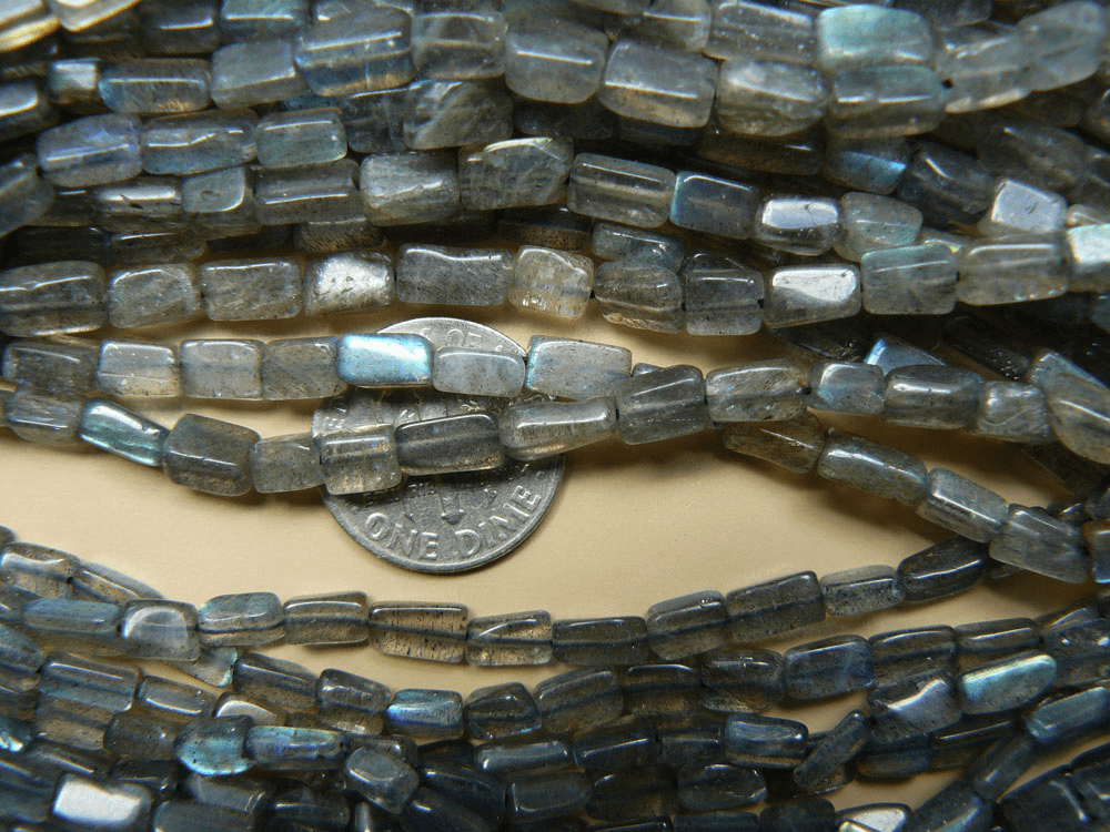 "Labradorite Beads Brick cut 15"" strands 4x4x8mm"