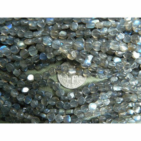 "Labradorite Coin Beads 5-6mm 15"" strands"