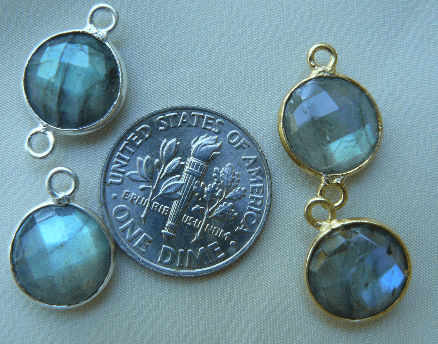 Labradorite faceted gems with 1 or 2 loops silver or gold