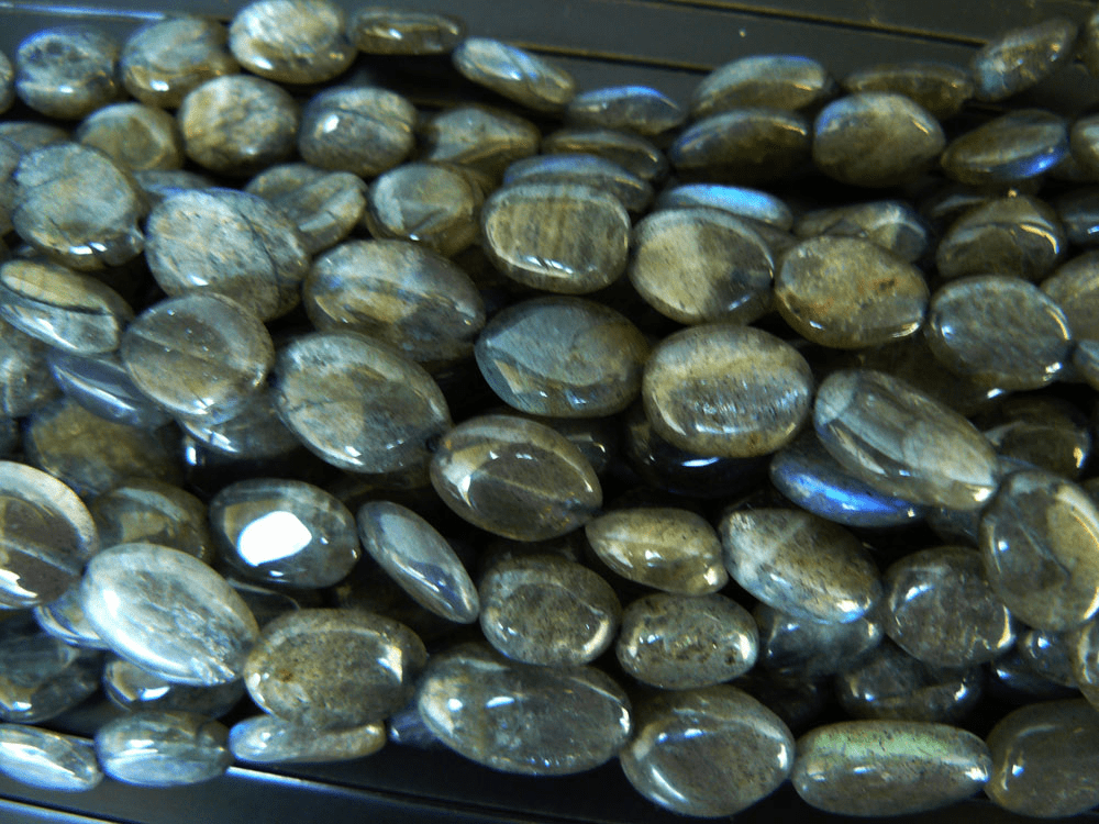 "Labradorite larger Grey tone oval Beads 9x12mm 15"" strands"