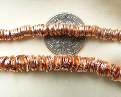Copper 6 mm wafer beads bottom picture 8 inch strands