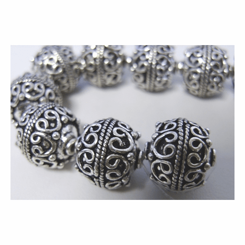 Large Bali Style Bead 15mm 3 Beads .999 Pure Silver Over Copper SCBK110
