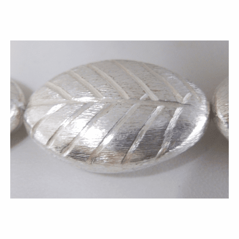 Large Etched Brushed Leaf - 35mm - 6 Beads - .999 Silver Over Copper<br>SCBK246