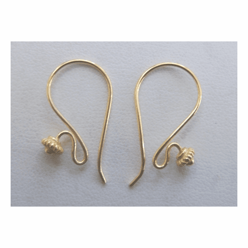 Large Fancy Detail Fishhook Ear Wire - 10 Pairs - 15x25mm - 24kt. Gold Over Copper