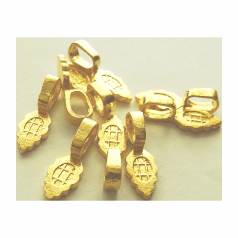 Large Glue on Bail - 8x25mm - 9 Pieces - 24KT Gold Over Copper
