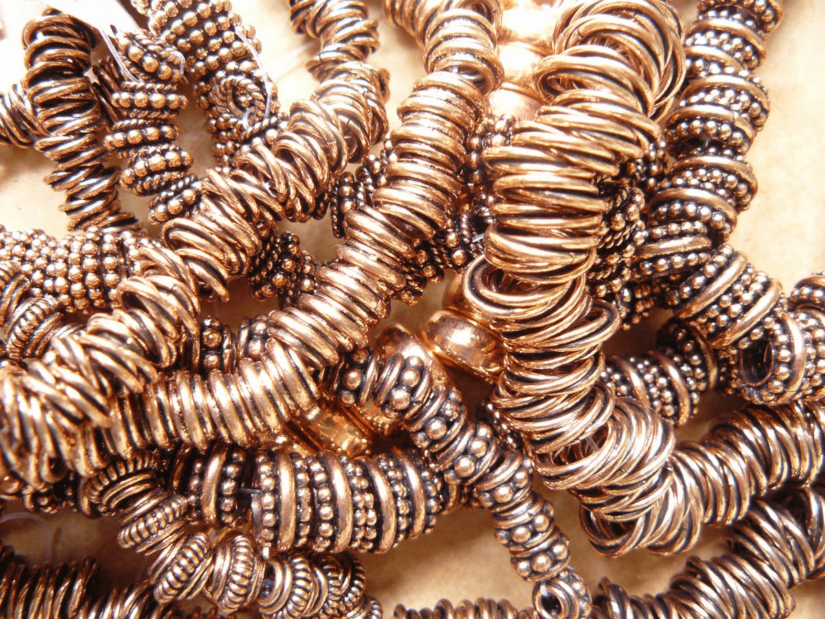 Large Hole Copper Beads for cords and leather