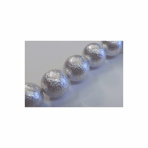 Large Hollow Textured Bead - 16mm - 13 Beads - .999 Silver Over Copper <br>SCBK226-16