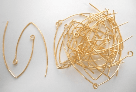 Large Marquis Ear Wire - 49x38mm - 28 Pieces - 24kt Gold Over Copper