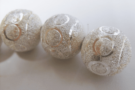 Large Round Diamond Cut Bead - 18mm - 12 Beads - .999 Silver Over Copper<br>SSC002
