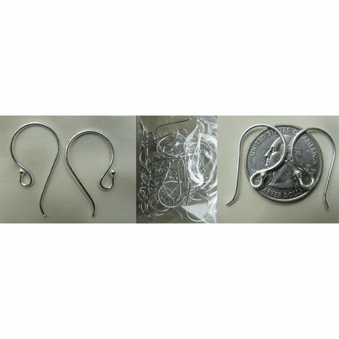 Large Simple Ear Wire with Ball - 14x25mm - .999 Silver Over Copper - 11 Pairs