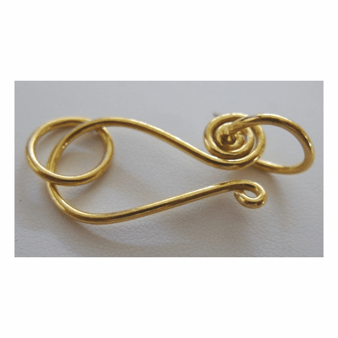 Large Swirl Hook and Eye Clasp - 12x30mm Hook w/ 8mm Rings - 8 Clasps - 24Kt. Gold Over Copper
