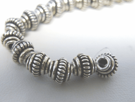 Layered Bicone Spacer - 6mm - 38 Spacers - .999 Silver Over Copper<br>SCBK07