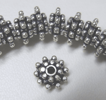 Layered Daisy Spacer - 4x8mm - 36 Spacers - .999 Silver Over Copper<br>SCBK81