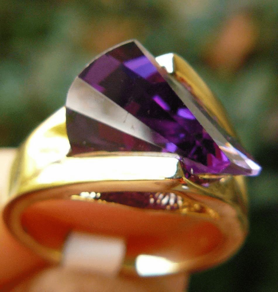 Lazer Cut Ring CZ purple Amethyst Choose size 5 to 10