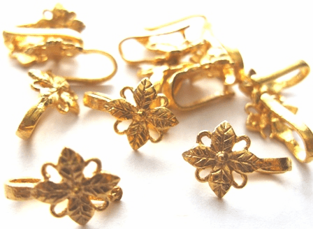 Leaf Detail Pinch Bail - 11x16mm - 14 Pieces - 24kt Gold Over Copper Core