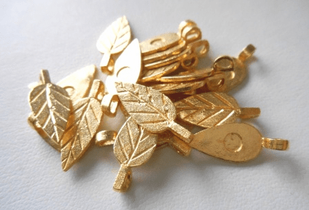 Leaf Glue-On Bail - 20mm - 17 Pieces - 24kt. Gold Over Copper