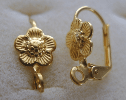 Lever Back Ear Wilre With Flower - 8x15mm - 6 pairs - 24kt. Gold Over Copper