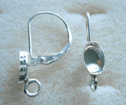 Lever Back w/ Cab Setting - 6x4mm - 1 Pair - Sterling Silver<br>LB64R