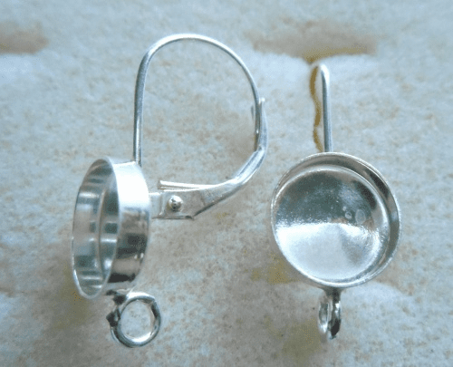 Lever Back w/ Cab Setting - 8mm - 1 Pair - Sterling Silver<br>LB8R