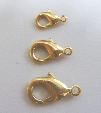 Lobster Clasp - 10mm: 16 Pieces - 16mm: 9 Pieces - 20mm: 5 Pieces - 24Kt. Gold Over Copper