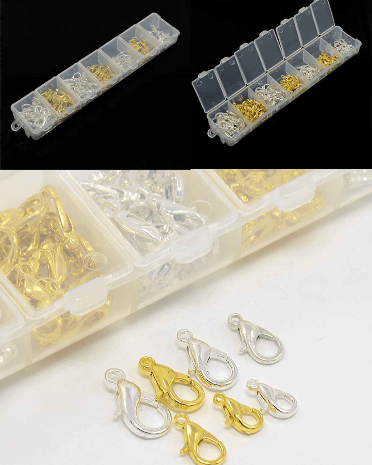Lobster Claw Clasp assortment of Silver and Gold colors and sizes