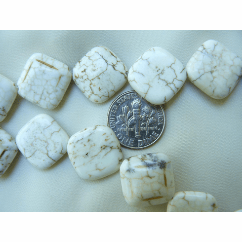 Magnesite Chicklet Squares 6x15x15mm white with brown veins