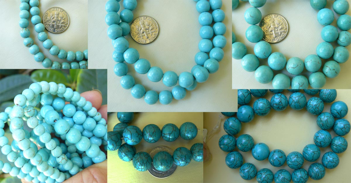 """Magnesite Turquoise beads 6mm round 16"""" strands"""