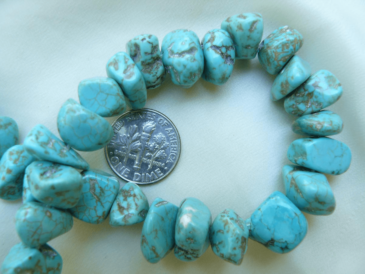 """Magnesite Turquoise Chunky chip beads 16"""" Strands"""