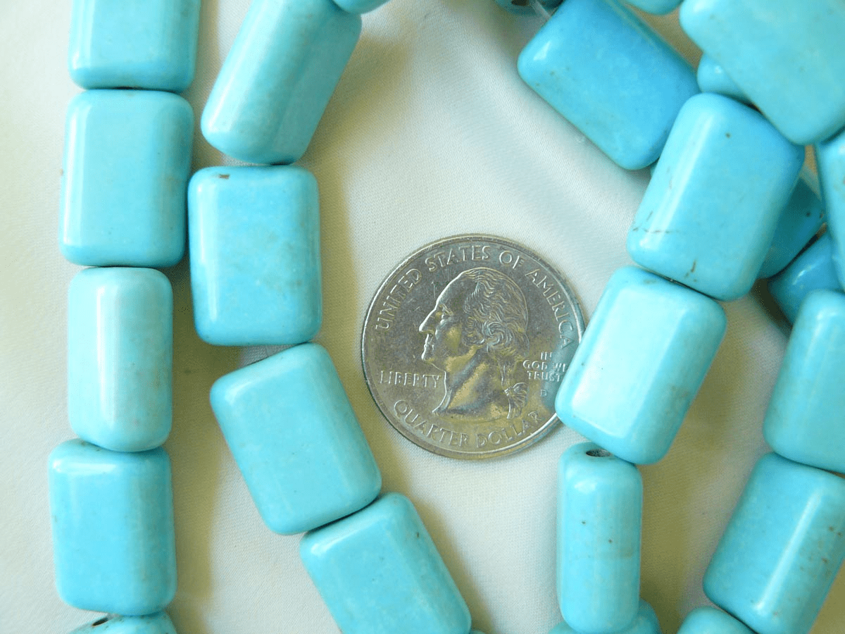 """Magnesite Turquoise Rectangles 13x18x8mm 16"""" strands"""